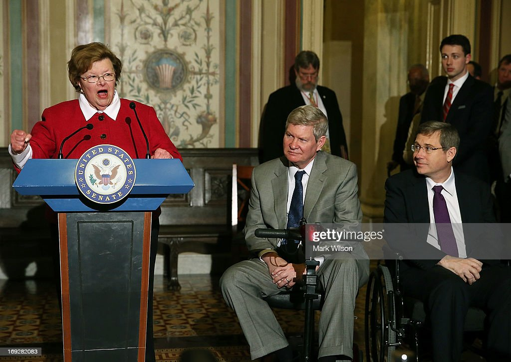 Senate Appropriations Chairwoman Barbara Mikulski (D-MD) (L) speaks while flanked by Sen. Tim Johnson (D-SD) (2nd-L) and Sen. Mark Kirk (R-IL) (R) during a news conference on Capitol Hill May 22, 2013 in Washington DC. The news conference was held to provide an update on efforts to eliminate the Veterans Affairs Department claims backlog.