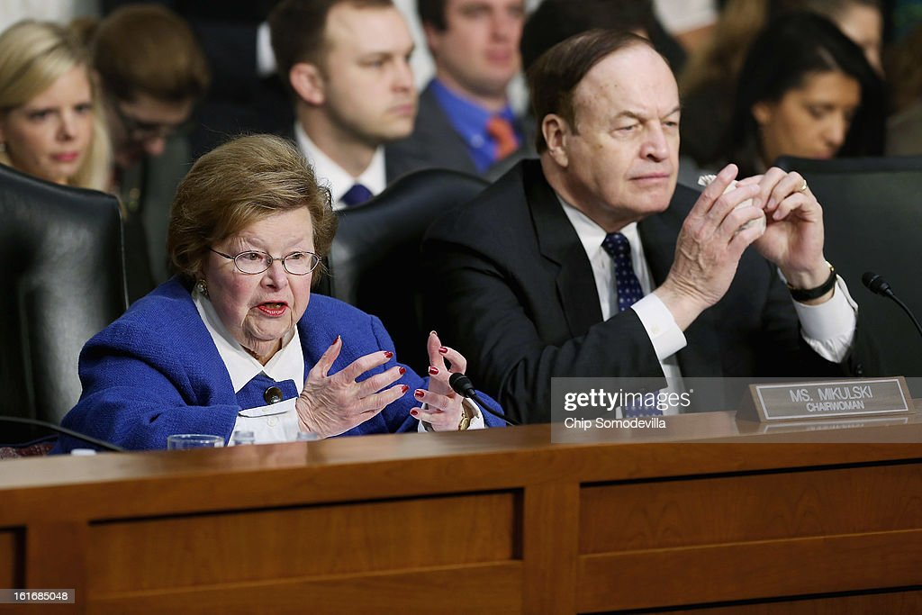 Senate Appropriations Committee Chairwoman <a gi-track='captionPersonalityLinkClicked' href=/galleries/search?phrase=Barbara+Mikulski&family=editorial&specificpeople=226768 ng-click='$event.stopPropagation()'>Barbara Mikulski</a> (D-MD) (L) and Vice Chairman Sen. <a gi-track='captionPersonalityLinkClicked' href=/galleries/search?phrase=Richard+Shelby&family=editorial&specificpeople=529578 ng-click='$event.stopPropagation()'>Richard Shelby</a> (R-AL) question witnesses about the potential impacts of 'the sequester' during a hearing on Capitol Hill February 14, 2013 in Washington, DC. This was Mikulski's first hearing as chairwoman. 'The sequester,' automatic spending cuts to military and nonmilitary programs, will go into affect March 1 if Congress and the White House can not find common ground on a federal budget.