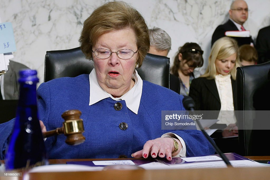 Senate Appropriations Committee Chairwoman <a gi-track='captionPersonalityLinkClicked' href=/galleries/search?phrase=Barbara+Mikulski&family=editorial&specificpeople=226768 ng-click='$event.stopPropagation()'>Barbara Mikulski</a> (D-MD) opens a committee hearing about the potential impacts of 'the sequester' on Capitol Hill February 14, 2013 in Washington, DC. This was Mikulski's first hearing as chairwoman. 'The sequester,' automatic spending cuts to military and nonmilitary programs, will go into affect March 1 if Congress and the White House can not find common ground on a federal budget.