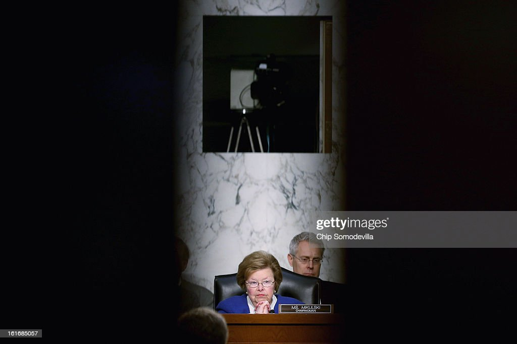Senate Appropriations Committee Chairwoman <a gi-track='captionPersonalityLinkClicked' href=/galleries/search?phrase=Barbara+Mikulski&family=editorial&specificpeople=226768 ng-click='$event.stopPropagation()'>Barbara Mikulski</a> (D-MD) questions witnesses during a committee hearing about the potential impacts of 'the sequester' on Capitol Hill February 14, 2013 in Washington, DC. This was Mikulski's first hearing as chairwoman. 'The sequester,' automatic spending cuts to military and nonmilitary programs, will go into affect March 1 if Congress and the White House can not find common ground on a federal budget.