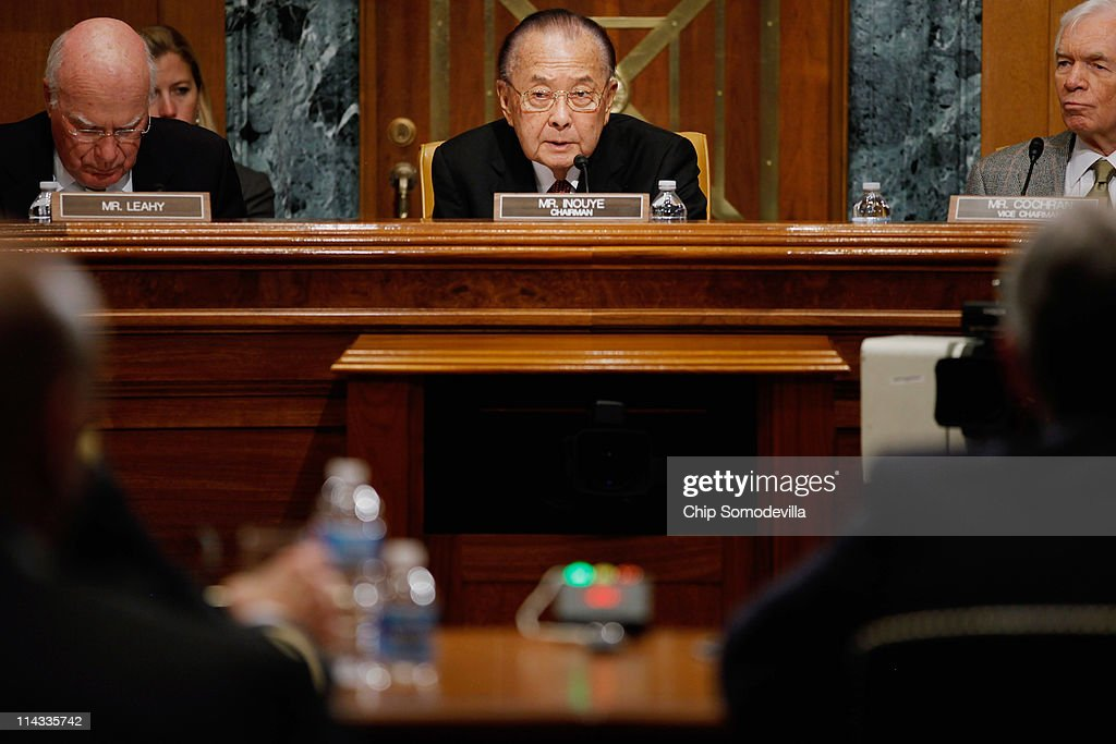 Senate Appropriations Committee Defense Subcommittee Chairman Daniel Inouye (D-HI) (C) is flanked by U.S. Sen. Patrick Leahy (D-VT) (L) and ranking member U.S. Sen. <a gi-track='captionPersonalityLinkClicked' href=/galleries/search?phrase=Thad+Cochran&family=editorial&specificpeople=673131 ng-click='$event.stopPropagation()'>Thad Cochran</a> (R-MS) while hearing testimony on the proposed FY2012 Army budget estimates on Capitol Hill May 18, 2011 in Washington, DC. The subcommittee questions witnesses about the costs of misslie defense systems, new armored vehicle and helicopter programs, mental health services for active duty soliders and the Army's history of cost overruns and incomplete projects.