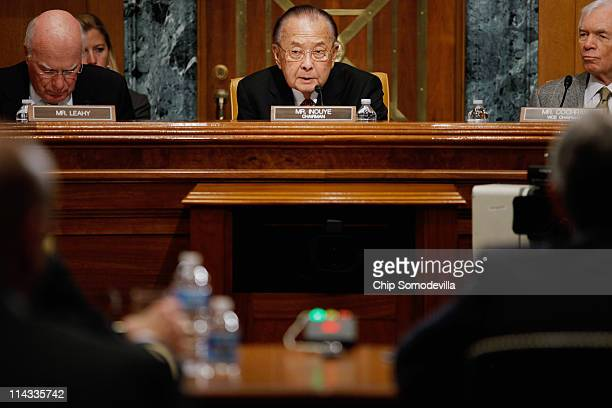 Senate Appropriations Committee Defense Subcommittee Chairman Daniel Inouye is flanked by US Sen Patrick Leahy and ranking member US Sen Thad Cochran...