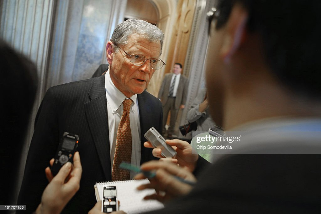 Senate Armed Service Committee ranking member Sen. James Inhofe (R-OK) talks with reporters after voting against cloture on the confirmation of former Sen. Chuck Hagel (R-NE) to be the next Secretary of State at the U.S. Capitol February 14, 2013 in Washington, DC. Inhofe, along with Sen. John McCain (R-AZ) and Sen. Lindsey Graham (R-SC) have been leading the charge against Hagel's confirmation.