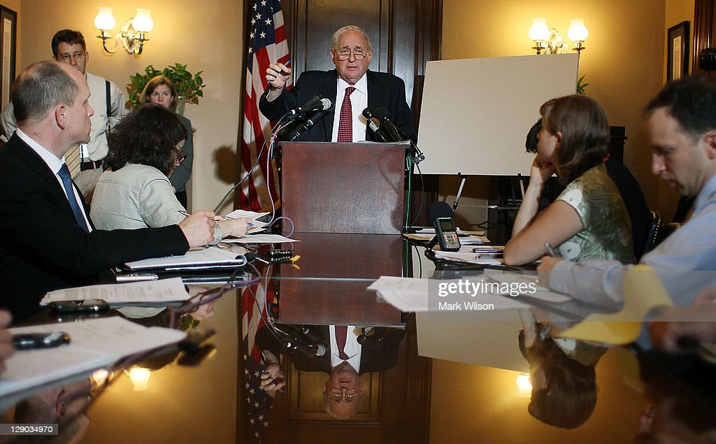 Senate Armed Services Chairman <a gi-track='captionPersonalityLinkClicked' href=/galleries/search?phrase=Carl+Levin&family=editorial&specificpeople=208878 ng-click='$event.stopPropagation()'>Carl Levin</a> (D-MI), talks about U.S. companies recieving large tax breaks, during a news conference on Capitol Hill, On October 11, 2011 in Washington, DC. Sen. Levin released a Government Affairs Investigations Subcommittee report that assesses the 2004 repatriation tax break that allowed U.S. companies to bring offshore earning back to the United States at the extraordinary low tax rate.