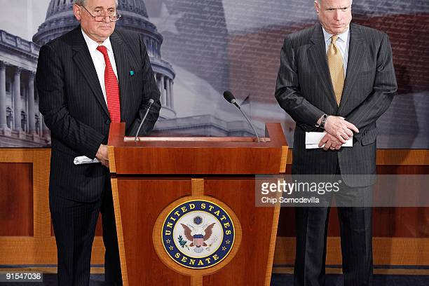 Senate Armed Services Committee Chairman Carl Levin and ranking member Sen John McCain take questions from reporter during a news conference about...