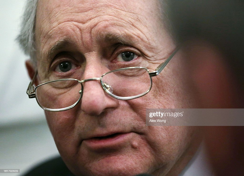 U.S. Senate Armed Services Committee Chairman <a gi-track='captionPersonalityLinkClicked' href=/galleries/search?phrase=Carl+Levin&family=editorial&specificpeople=208878 ng-click='$event.stopPropagation()'>Carl Levin</a> (D-MI) talks to the press at the Capitol February 14, 2013 on Capitol Hill in Washington, DC. Senate Republicans have signaled that they will block the confirmation of former Senator Chuck Hagel (R-NE) to become the new secretary of defense succeeding Leon Panetta.