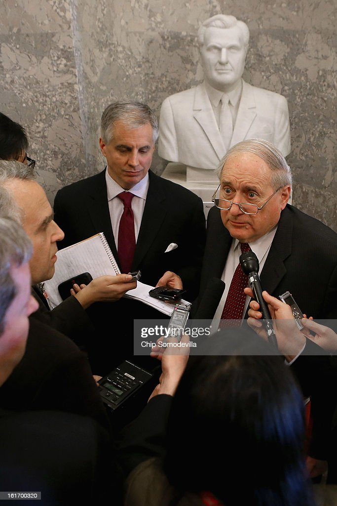 Senate Armed Services Committee Chairman <a gi-track='captionPersonalityLinkClicked' href=/galleries/search?phrase=Carl+Levin&family=editorial&specificpeople=208878 ng-click='$event.stopPropagation()'>Carl Levin</a> (D-MI) talks with reporters just outside the Senate chamber in the U.S. Capitol February 14, 2013 in Washington, DC. Levin and other Democratic leaders are pushing the confirmation vote on former Sen. Chuck Hagel (R-NE) to be secretary of defense despite opposition by many Senate Republicans, including fellow Vietnam veteran Sen. John McCain (R-AZ).