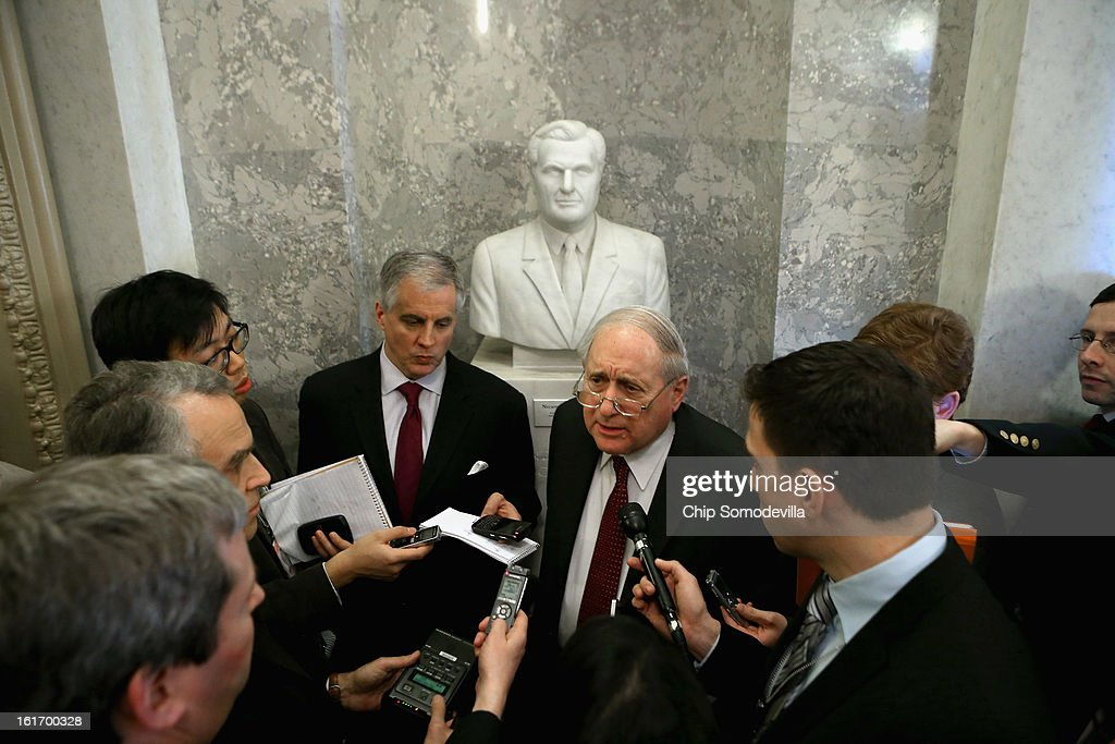 Senate Armed Services Committee Chairman Carl Levin (D-MI) talks with reporters just outside the Senate chamber in the U.S. Capitol February 14, 2013 in Washington, DC. Levin and other Democratic leaders are pushing the confirmation vote on former Sen. Chuck Hagel (R-NE) to be secretary of defense despite opposition by many Senate Republicans, including fellow Vietnam veteran Sen. John McCain (R-AZ).