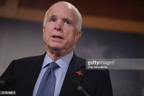 Senate Armed Services Committee Chairman John McCain speaks at a news conference at the US Capitol February 24 2016 in Washington DC The Republican...