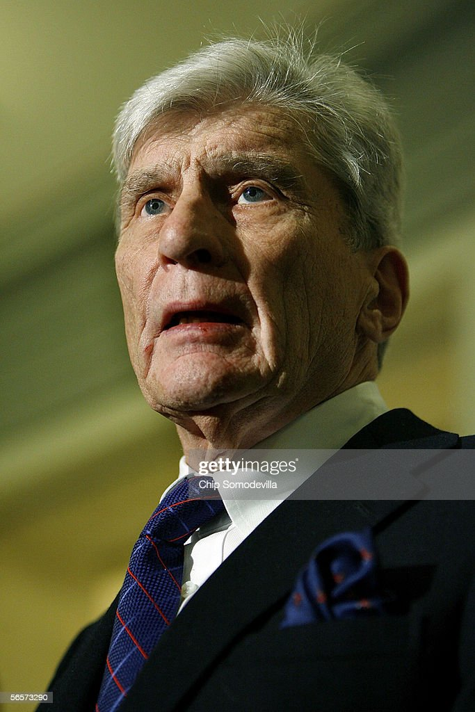 Senate Armed Services Committee chairman John Warner (R-VA) holds a news conference following a closed meeting of the committee where Pentagon officials briefed the committee on the safety standards of the armored vests issued to U.S. troops on Capitol Hill January 11, 2006 in Washington, DC. The officials from the U.S. Army, Marine Corps and Navy discussed an Armed Forces Institute of Pathology study on the Interceptor Body Armor System. The Army is distributing an improved version of body armor to 230,000 troops this year, according to Maj. Gen. Jeffrey Sorenson, deputy for acquisition and systems management, Office of the Assistant Secretary of the Army for Acquisition, Logistics and Technology.