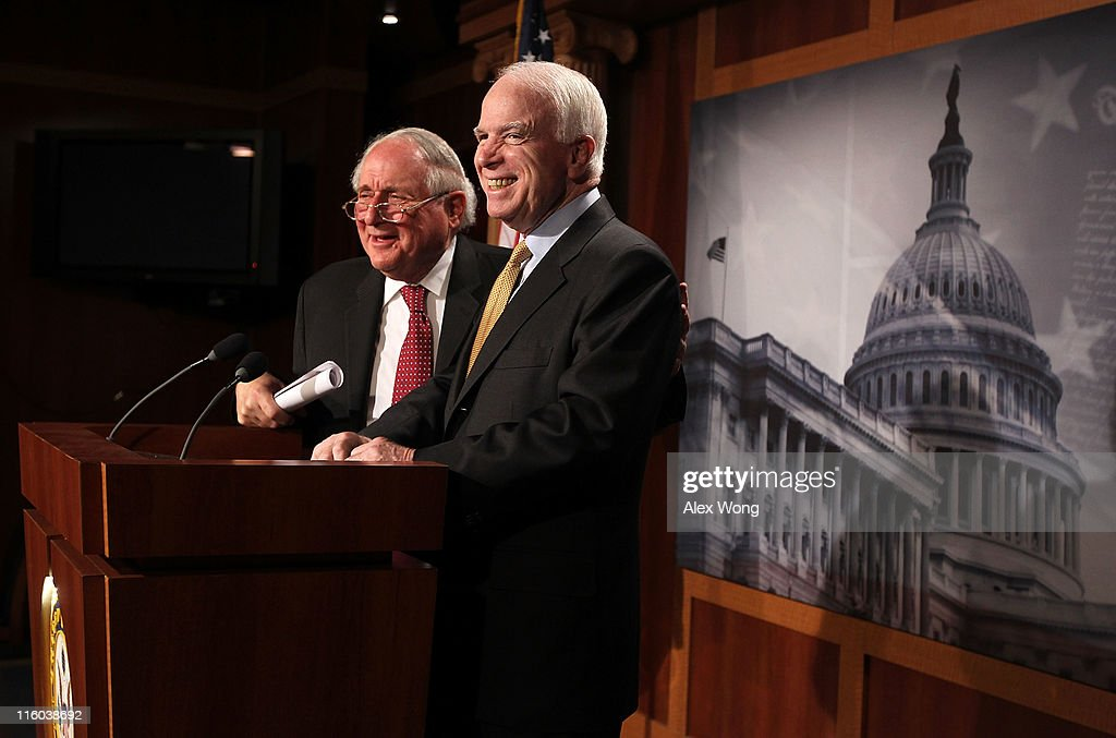 U.S. Senate Armed Services Committee Chairman Sen. <a gi-track='captionPersonalityLinkClicked' href=/galleries/search?phrase=Carl+Levin&family=editorial&specificpeople=208878 ng-click='$event.stopPropagation()'>Carl Levin</a> (D-MI) (L) and ranking member Sen. <a gi-track='captionPersonalityLinkClicked' href=/galleries/search?phrase=John+McCain&family=editorial&specificpeople=125177 ng-click='$event.stopPropagation()'>John McCain</a> (R-AZ) speak to the media during a news conference June 14, 2011 on Capitol Hill in Washington, DC. The senators held a news conference to discuss an ongoing Senate Armed Services Committee investigation into counterfeit electronic parts from China in the Defense Department's supply chain.