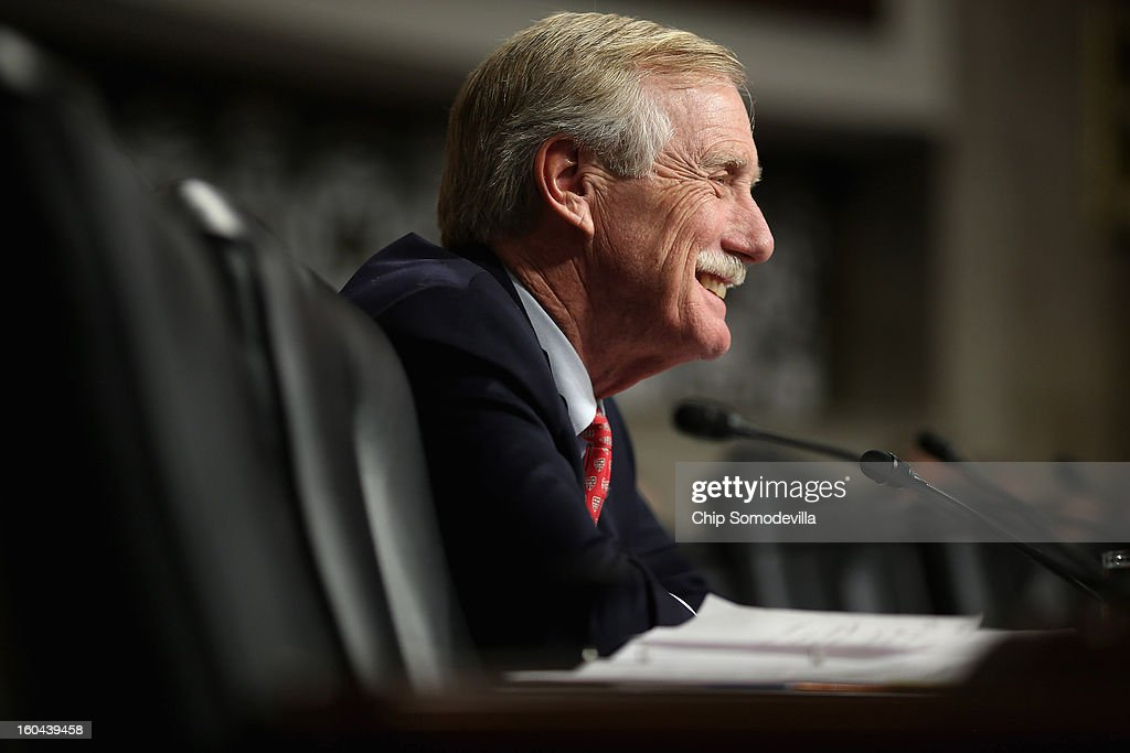 Senate Armed Services Committee member Sen. Angus King (I-ME) questions former U.S. Senator Chuck Hagel (R-NE) during his confirmation hearing to become the next secretary of defense on Capitol Hill January 31, 2013 in Washington, DC. President Barack Obama nominated Hagel, a controversial choice as Hagel opposed former President George W. Bush and his own party on the Iraq War and upset liberals with his criticism of a gay ambassador, for which he later apologized.