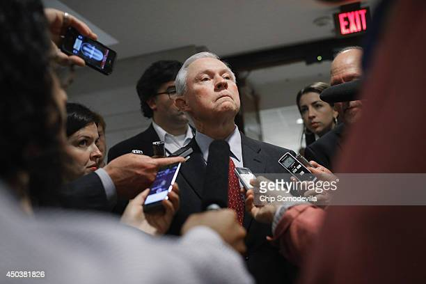 Senate Armed Services Committee Member US Sen Jeff Sessions talks with reporters after being briefed by military officals about the prisoner exchange...