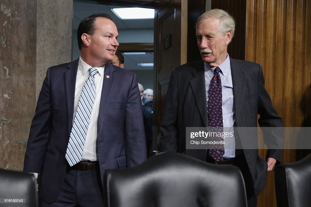 Senate Armed Services Committee members Sen. <a gi-track='captionPersonalityLinkClicked' href=/galleries/search?phrase=Mike+Lee+-+Utah+Politician&family=editorial&specificpeople=11404416 ng-click='$event.stopPropagation()'>Mike Lee</a> (R-UT) (L) and Sen. <a gi-track='captionPersonalityLinkClicked' href=/galleries/search?phrase=Angus+King&family=editorial&specificpeople=2102168 ng-click='$event.stopPropagation()'>Angus King</a> (I-ME) arrive for hearing about the Pentagon budget in the Dirksen Senate Office Building on Capitol Hill March 17, 2016 in Washington, DC. Although Congress controls the Department of Defense's budget, members of the committee were critical of leadership's decisions on readiness spending and cuts to other programs.