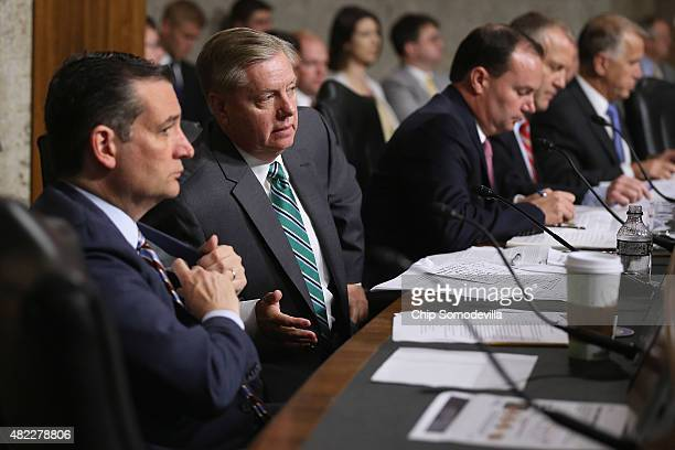 Senate Armed Services Committee memebrs and Republican presidential candidates Sen Ted Cruz and Sen Lindsey Graham prepare to question witnesses...