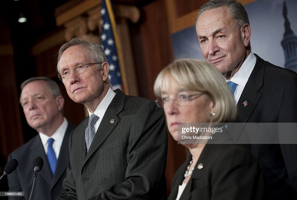 Senate Assistant Majority Leader Richard Durbin, D-Ill., Senate Majority Leader Harry Reid, D-Nev.; Sen. Patty Murray, D-Wash.; and Sen. Charles Schumer, D-N.Y., speak at a press conference in the Capitol about the ongoing 'Fiscal Cliff' crisis. They said the House's 'Plan B,' the GOP alternative to the President's plan, would be 'dead on arrival.'