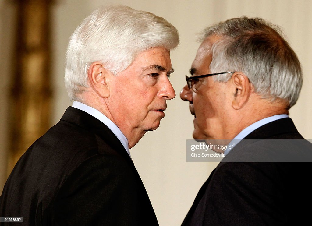Senate Banking and Urban Affairs Committee Chairman Christopher Dodd (D-CT) (L) and House Financial Services Committee Chairman Barney Frank (D-MA) talks before an event where U.S. President Barack Obama made remarks about finanacial institution regulation reform in the East Room of the White House October 9, 2009 in Washington, DC. Obama said he supports the creation of Consumer Financial Protection Agency.