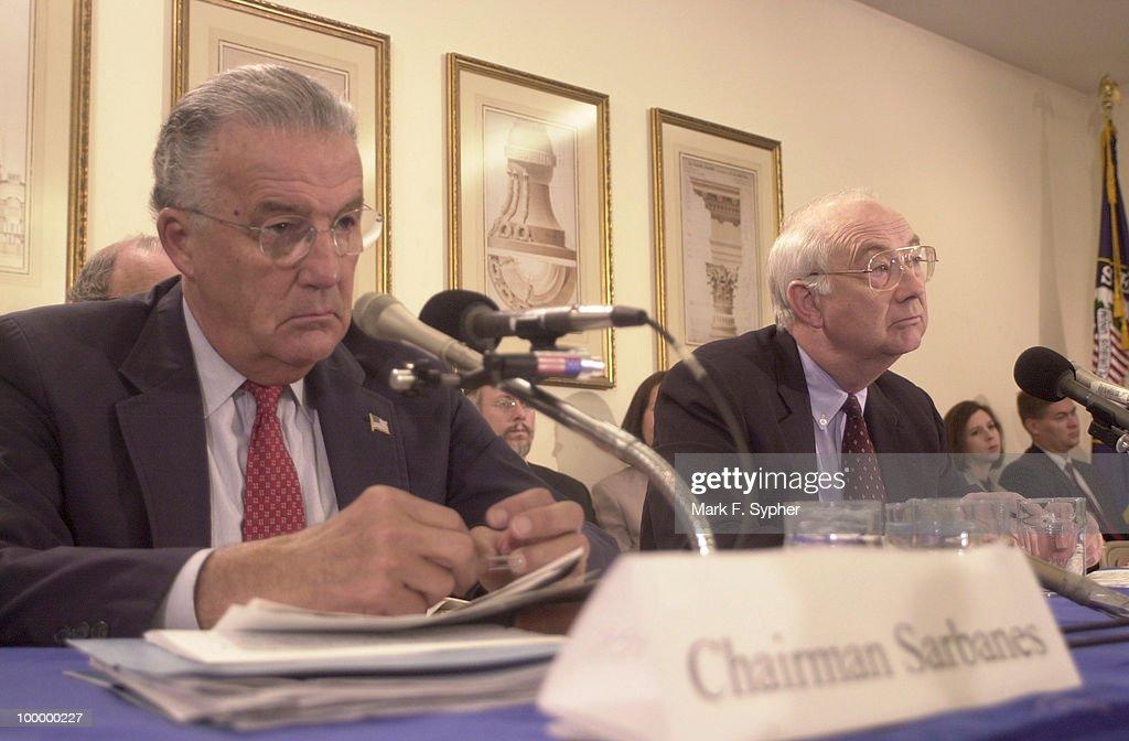 Senate Banking Committee Chair, Sen. Paul S. Sarbanes (D-MD) and Sen. Phil Gramm (R-TX) listen to testimony from Senator Bill Nelson (D-FL).
