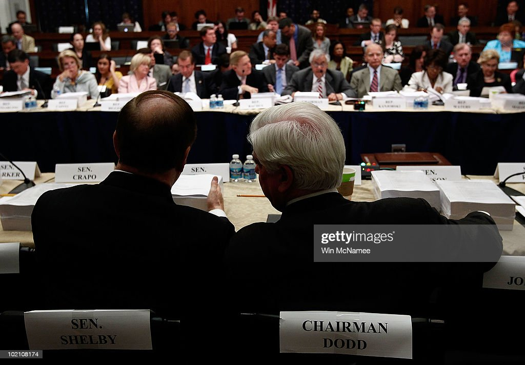 Senate Banking Committee Chairman Sen. Chris Dodd (D-CT) (R) speaks with ranking member Sen. <a gi-track='captionPersonalityLinkClicked' href=/galleries/search?phrase=Richard+Shelby&family=editorial&specificpeople=529578 ng-click='$event.stopPropagation()'>Richard Shelby</a> (R-AL) during the House-Senate Conference Committee meeting on H.R.4173, the 'Wall Street Reform and Consumer Protection Act' June 15, 2010 in Washington, DC. Members of the House and Senate are working to reach a compromise on financial reform legislation that passed their respective legislative bodies.