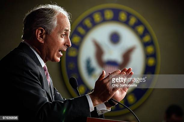Senate Banking Committee member Sen Bob Corker holds a news conference at the US Capitol March 11 2010 in Washington DC Expressing great respect for...