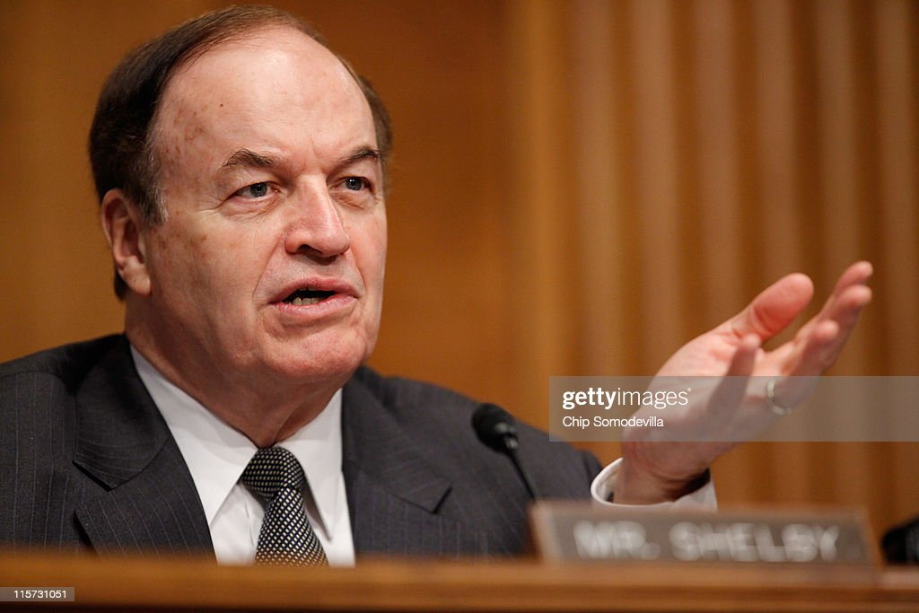Senate Banking, Housing and Urban Affairs Committee ranking member Sen. <a gi-track='captionPersonalityLinkClicked' href=/galleries/search?phrase=Richard+Shelby&family=editorial&specificpeople=529578 ng-click='$event.stopPropagation()'>Richard Shelby</a> (R-AL) questions a witness during a committee hearing on Capitol Hill June 9, 2011 in Washington, DC. Federal Emergency Management Agency (FEMA) Administrator Craig Fugate testified to the committee about the reauthorization of the National Flood Insurance Program.
