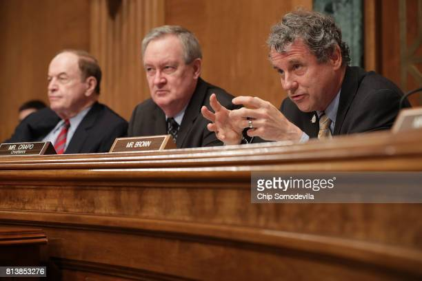 Senate Banking Housing and Urban Affairs Committee ranking member Sen Sherrod Brown questions Federal Reserve Board Chairwoman Janet Yellen during a...