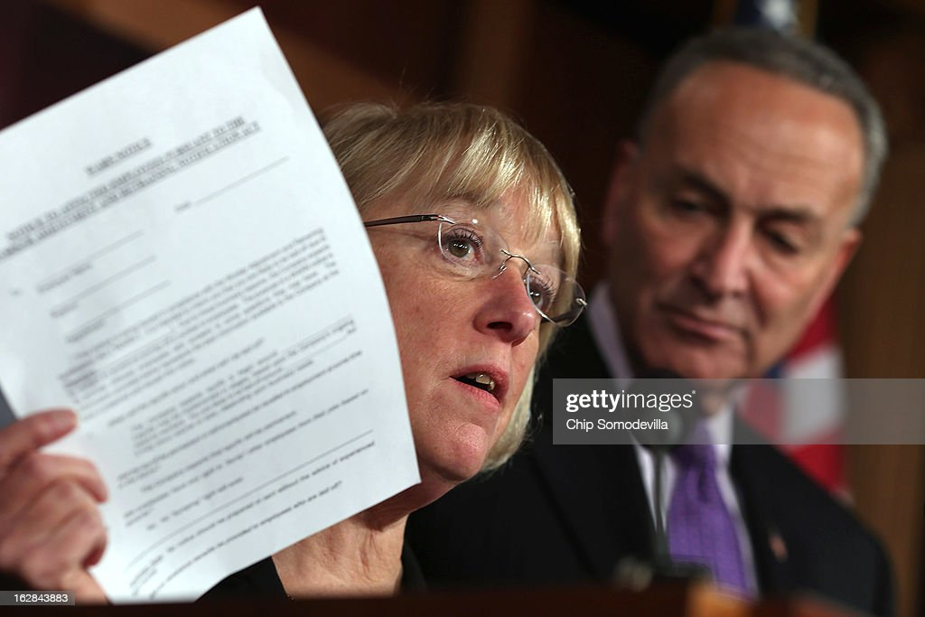 Senate Budget Committee Chair Patty Murray (D-WA) (L) holds up a layoff notification during a news conference with Sen. Charles Schumer (D-NY) at the U.S. Capitol on the eve of the budget sequester February 28, 2013 in Washington, DC. Referring to the sequester, Senate Chaplain Barry Black opened today's session with the prayer, 'As we anticipate an across-the-board budget cuts across our land, we still expect to see your goodness prevail, O God, and save us from ourselves.'