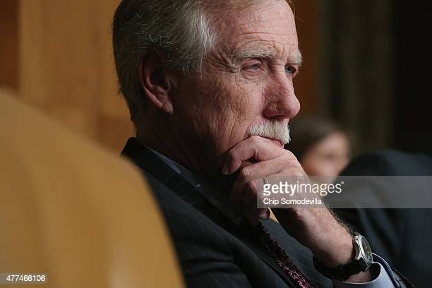 Senate Budget Committee member Sen Angus King listens to testimony from Congressional Budget Office Director Keith Hall during a hearing in the...