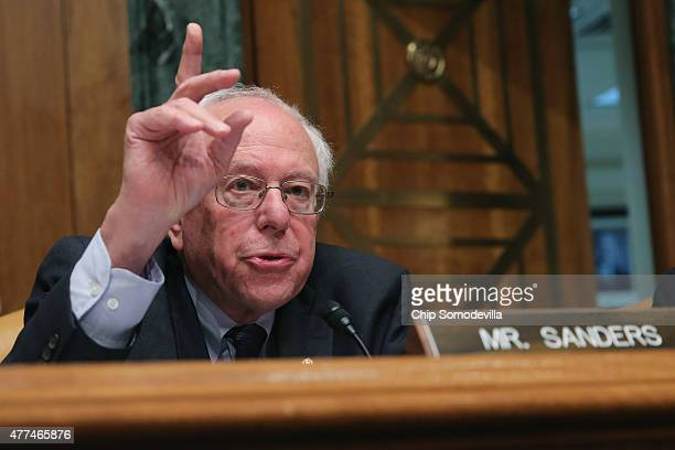 Senate Budget Committee ranking member and presidential candidate Sen Bernie Sanders delivers opening remarks during a committee hearing in the...