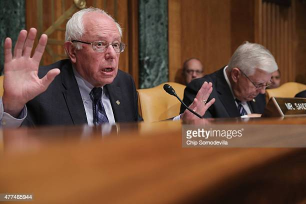 Senate Budget Committee ranking member and presidential candidate US Sen Bernie Sanders delivers opening remarks duing a committee hearing with...