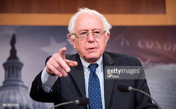 Senate Budget Committee ranking member Sen Bernie Sanders IVt holds a news conference on the budget on Friday Jan 16 2015