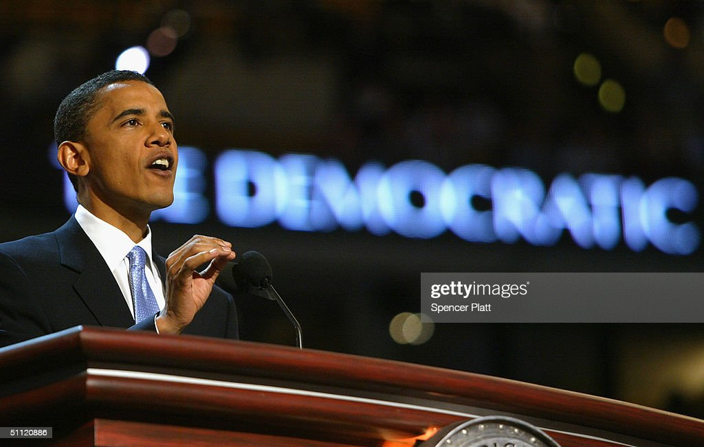 S Senate candidate Barack Obama of Illinois delivers the keynote address to delegates on the floor of the FleetCenter on the second day of the...