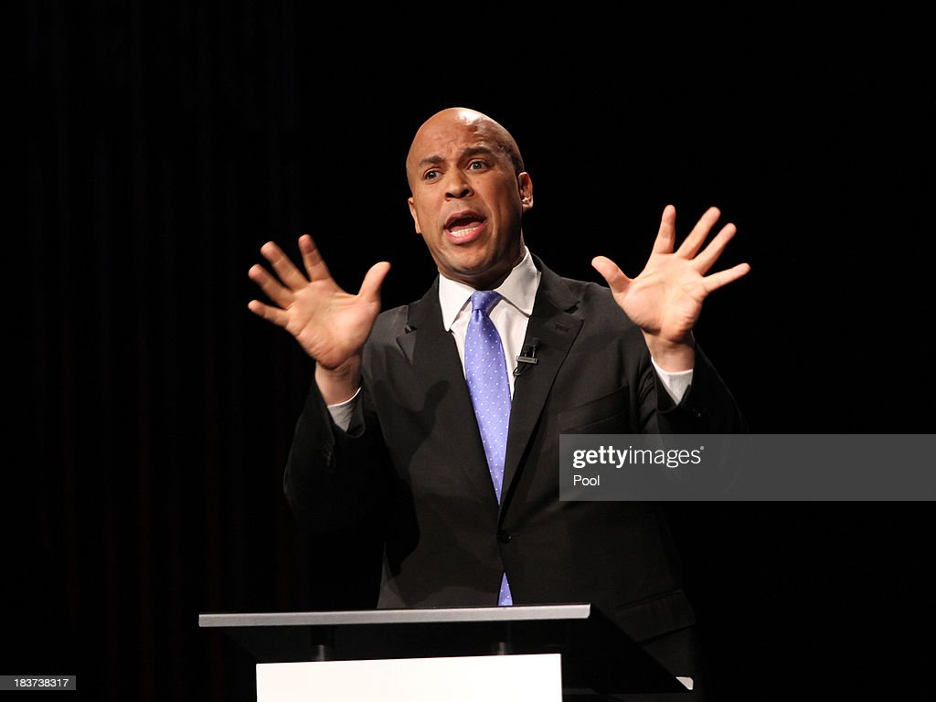 U.S. Senate candidate <a gi-track='captionPersonalityLinkClicked' href=/galleries/search?phrase=Cory+Booker&family=editorial&specificpeople=638070 ng-click='$event.stopPropagation()'>Cory Booker</a> speaks during his second televised debate with Steve Lonegan at Pfleeger Concert Hall, Wilson Hall, Rowan University, on October 9, 2013 in Glassboro, New Jersey. Voters go to the polls November 5.