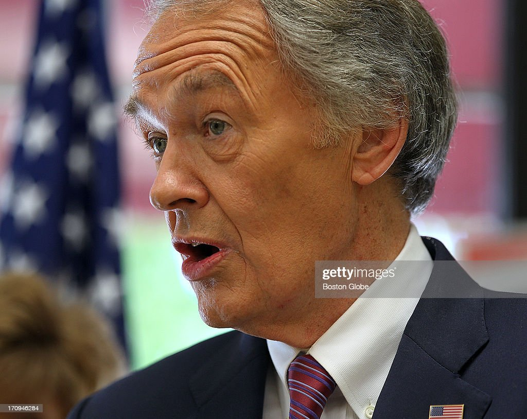 US Senate candidate Ed Markey holds a press conference in Canton with Norfolk County Sheriff Michael G. Bellotti and retired teacher Sue Leahy, on Thursday, June 20, 2013.