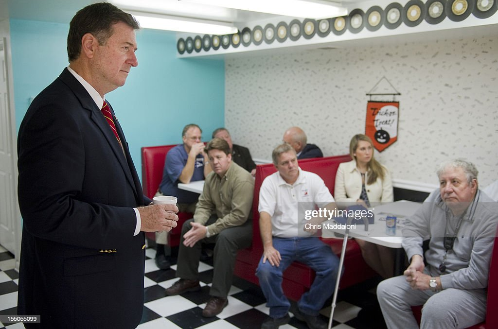GOP Senate candidate George Allen visits Fairfax County business leaders at a campaign stop at Joe Ragan's Coffee company in Springfield, Virginia.