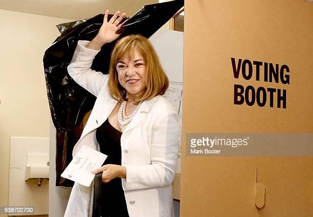 S Senate candidate Loretta Sanchez casts her ballot at Orange High School for the California Primary