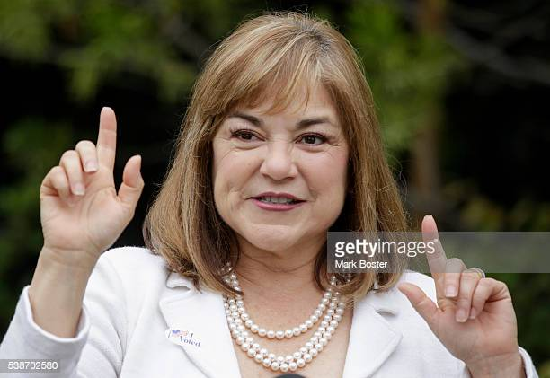 S Senate candidate Loretta Sanchez talks to the media after casting her vote at Orange High School on the morning of the California Primary June 7...