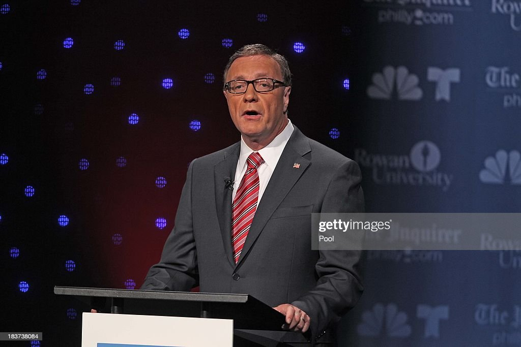 U.S. Senate candidate Steve Lonegan speaks during his second televised debate with Cory Booker at Pfleeger Concert Hall, Wilson Hall, Rowan University, on October 9, 2013 in Glassboro, New Jersey. Voters go to the polls November 5.