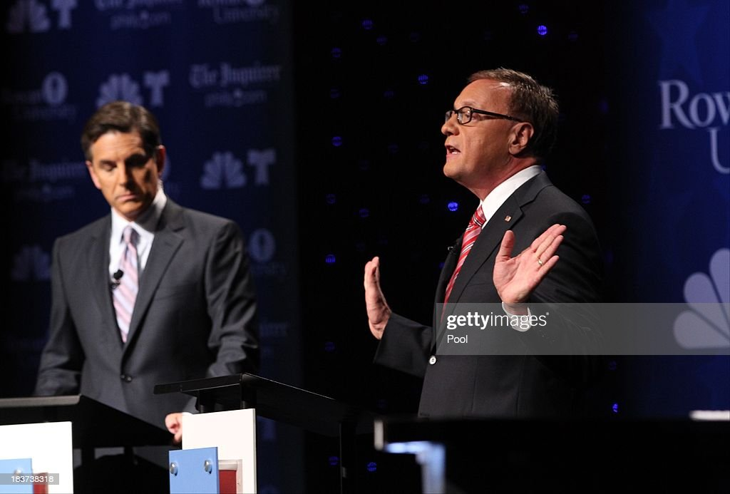 U.S. Senate candidate Steve Lonegan (R) speaks during his second televised debate with Cory Booker (not pictured) at Pfleeger Concert Hall, Wilson Hall, Rowan University, on October 9, 2013 in Glassboro, New Jersey. Voters go to the polls November 5.