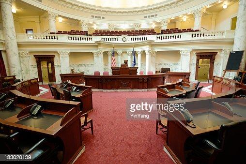 Senate Chamber Inside State Capitol Government Building, Boise, Idaho, USA