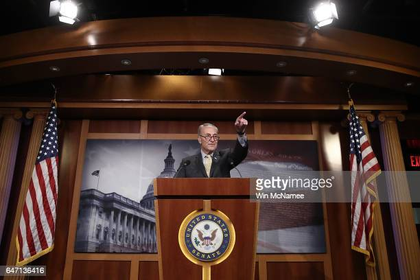 Senate Democratic Leader Charles Schumer answers questions at the US Capitol during a press conference on reports of US Attorney General Jeff...