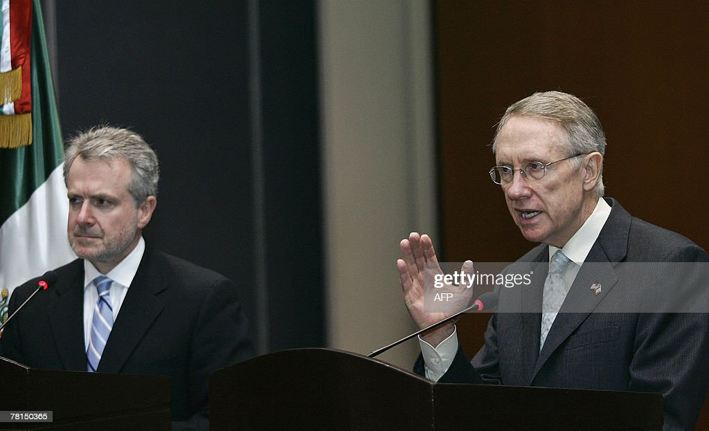 US Senate Democratic Majority leader Harry Reid speaks next to Mexican Senator Santiago Creel from the governing National Action Party during a joint...
