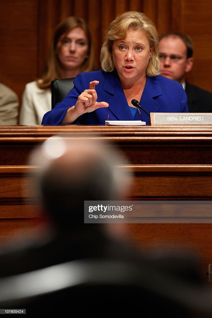 Senate Energy and Natural Resources Committee member Sen. <a gi-track='captionPersonalityLinkClicked' href=/galleries/search?phrase=Mary+Landrieu&family=editorial&specificpeople=552126 ng-click='$event.stopPropagation()'>Mary Landrieu</a> (D-LA) questions Interior Secretary <a gi-track='captionPersonalityLinkClicked' href=/galleries/search?phrase=Ken+Salazar&family=editorial&specificpeople=228558 ng-click='$event.stopPropagation()'>Ken Salazar</a> about oil-service companies that have been affected by the federal government's decision to put a hold on deepwater drilling during a committee hearing on Capitol Hill June 9, 2010 in Washington, DC. Salazar was called to testify about the Obama Administration's increased safety regulations of energy exploration on the Outer Continental Shelf in the wake of the ongoing BP Deepwater Horizon oil spill in the Gulf of Mexico.