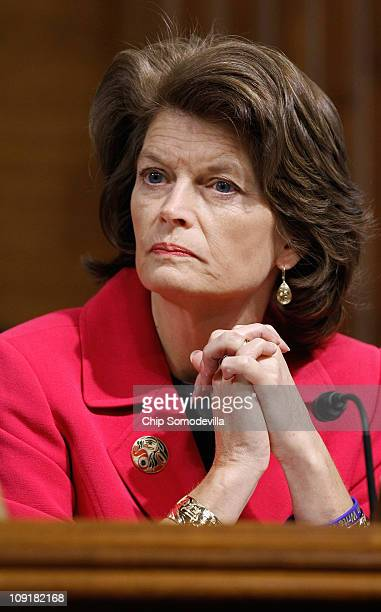 Senate Energy and Natural Resources Committee raking member Sen Lisa Murkowski attends a committee hearing on Capitol Hill February 16 2011 in...