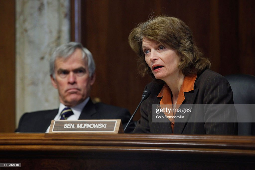 Senate Energy and Natural Resources Committee ranking member US Sen Lisa Murkowski questions witnesses during a hearing about the recent events at...