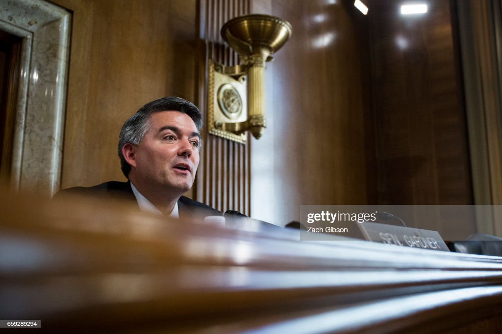 Senate Energy Subcommittee Chairman Sen. Cory Gardner (R-CO) speaks during a Senate Energy Subcommittee hearing discussing cybersecurity threats to the U.S. electrical grid and technology advancements to maximize such threats on Capitol Hill on March 28, 2017 in Washington, D.C.