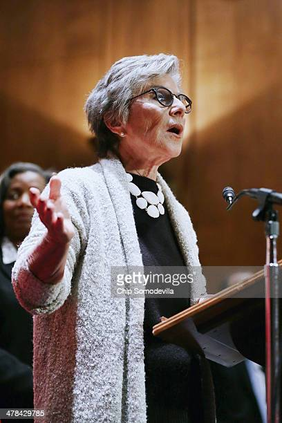 Senate Environment and Public Works Committee Chairman Barbara Boxer speaks during a news conference with nurses about the health impact of tar sands...