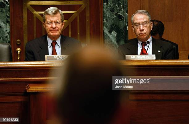 Senate Finance Chairman Sen Max Baucus and Sen Chuck Grassley preside over a finance committee hearing October 20 2009 in Washington DC The committee...