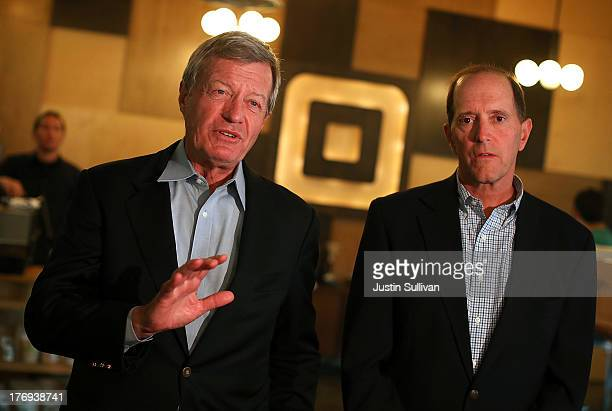 Senate Finance Committee Chairman Max Baucus and House Ways and Means Committee Chairman Dave Camp speak to reporters while touring the Square...