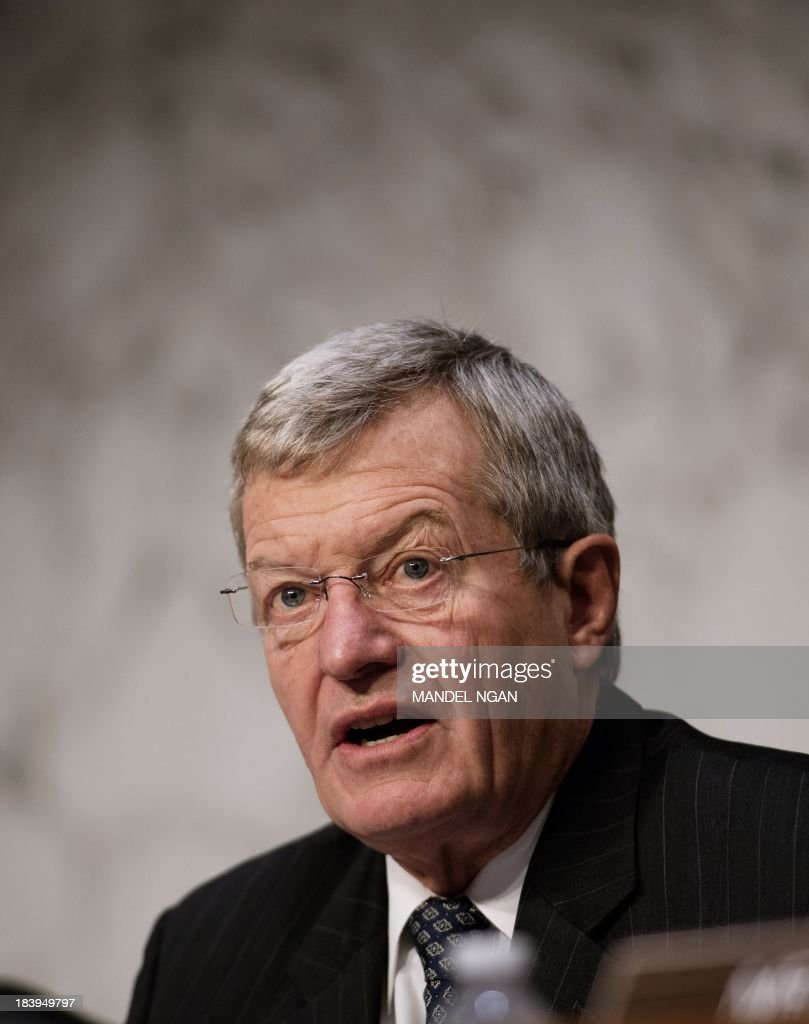 Senate Finance Committee Chairman Max Baucus (L), D-MT, speaks before US Treasury Secretary Jacob Lew testimony to Senate Finance Committee on the debt limit in the Hart Senate Office Building on Capitol Hill in Washington, DC on October 10, 2013. AFP PHOTO/Mandel NGAN